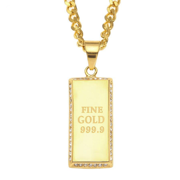 NPGD0100S - Cuban Iced Square Fine 999.9 Necklace - SPECIAL DEAL 50% OFF Plus FREE Shipping!