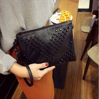 Black Chevron Studded Leather Crossbody Bag