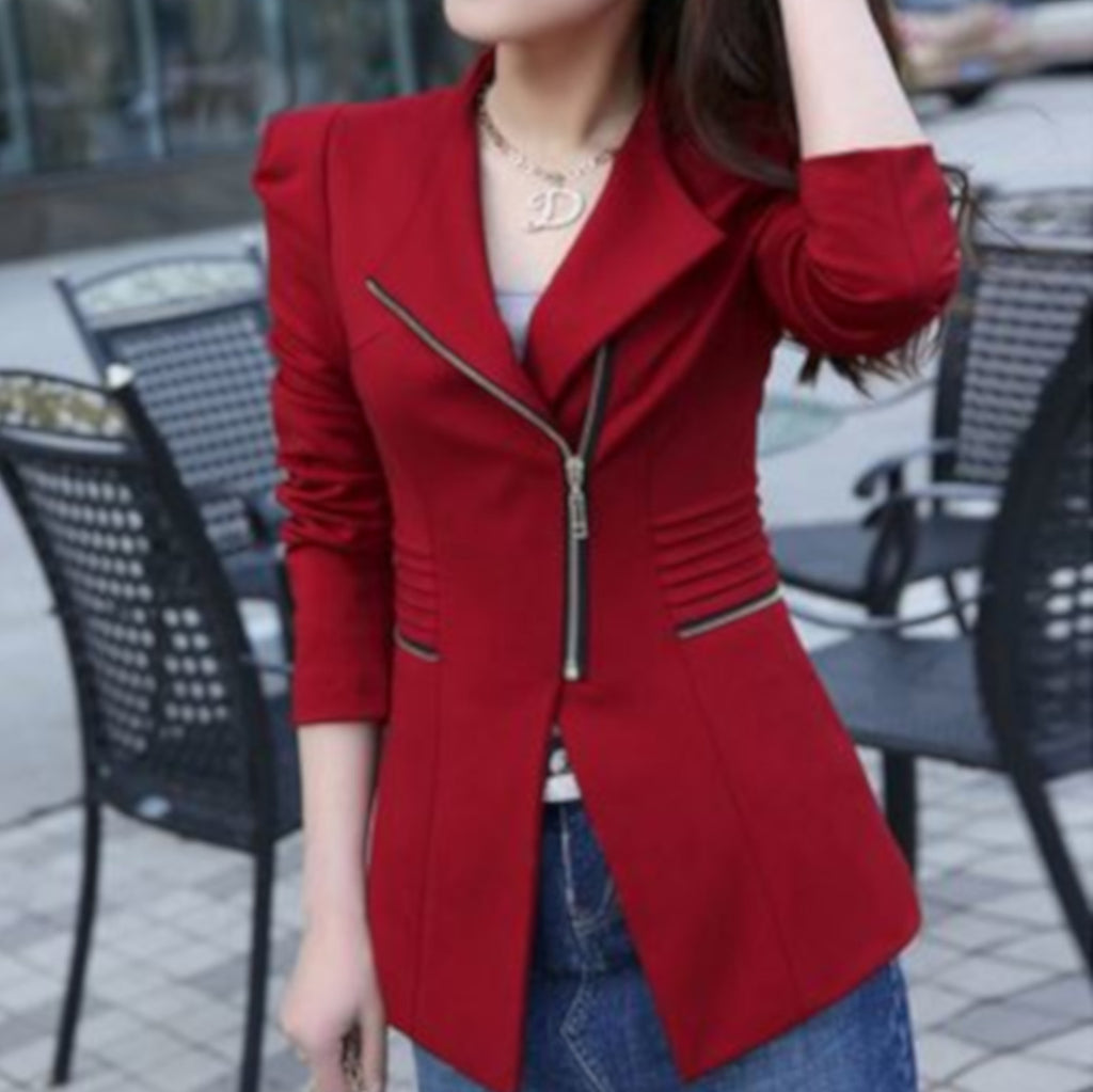 Womens Red Side Zip Gold Accent Long Sleeve Office Blazer Jacket