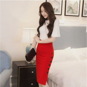 Long Red Button Down Midi Office Pencil Skirt