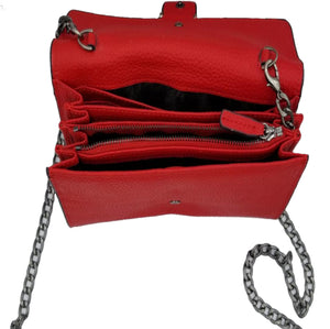 Vintage Red Luxury Rhinestone Studded Shoulder Chain Crossbody Bag