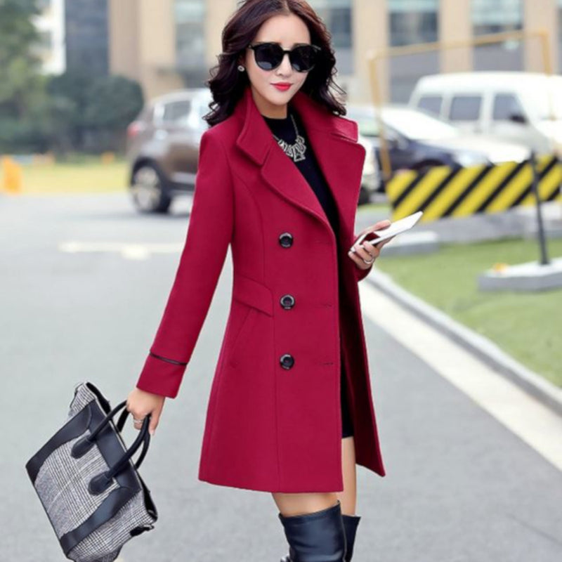 Womens Red Double Breasted Light Weight Pea Coat