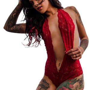 Lady In Red Luscious Lace Halter OnePiece Intimate Bodysuit Teddy