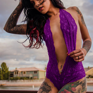 Flirty Backless Purple Lace Bodysuit Teddy Lingerie