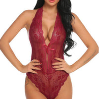 Ladies Wine Red Flirtatious Lace Bodysuit Intimates