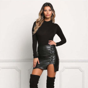 Sexy Black Lace Up Leather Mini Club Skirt