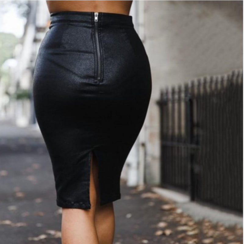 Edgy Black High Waist Faux Leather Midi Skirt