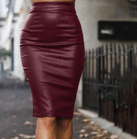 Edgy Wine Red High Waist Faux Leather Midi Skirt
