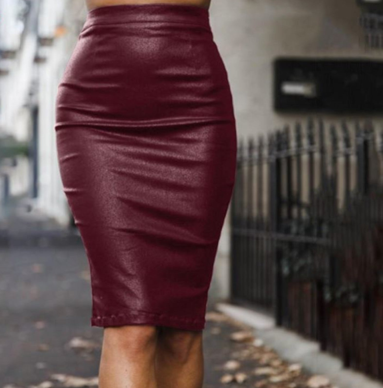 1fc90f44c Red High Waist Leather Midi Skirt | Womens Clubwear - Edgy Couture