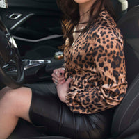 Leopard Animal Print Long Sleeve Bodysuit Business Casual Blouse