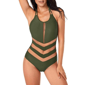 Army Green Mesh One-Piece Summer Bathing Suit Large / Army Green MonoKini Edgy Couture