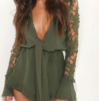 Women's Sexy Green V Neck Cut Out Long Sleeve Shorts Romper