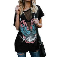 Black Mesh Skull Patriot Steampunk Distressed Graphic T-Shirt  T-Shirts Edgy Couture