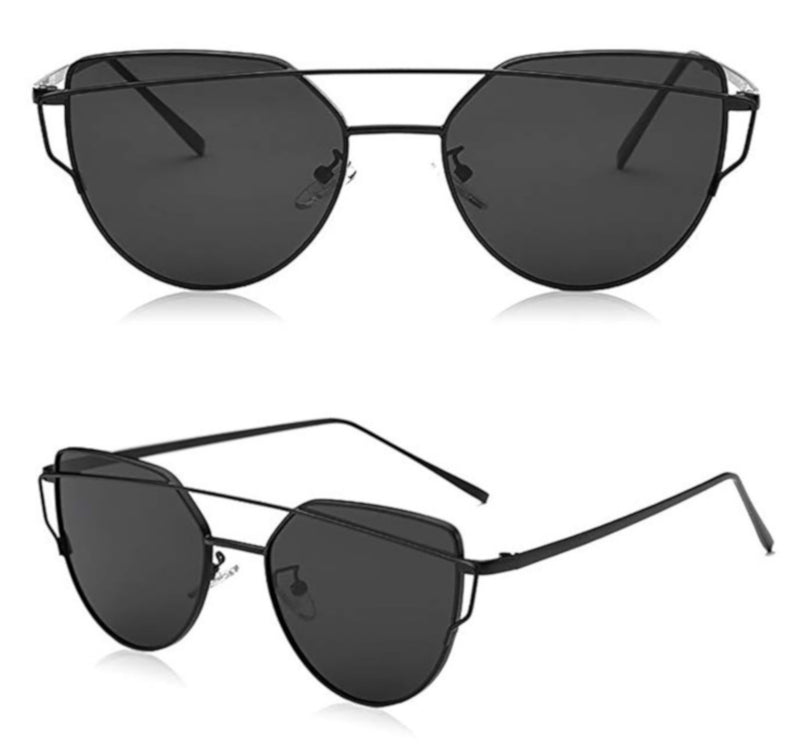 Retro Cat Eye Black Mirrored Sunglasses For Women