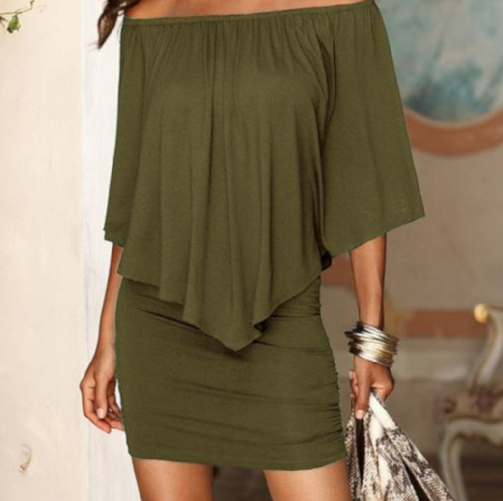 Classy Army Green Off The Shoulder Sheath Party Dress W/ Ruffles