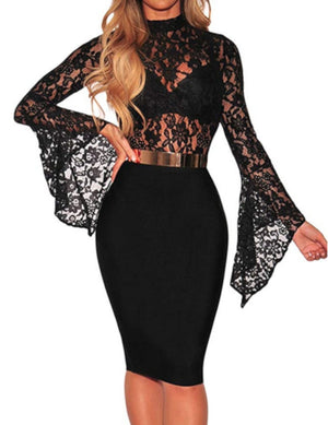 Edgy Black Lace Long Sleeve Ruffles Bodysuit Teddy-Bodysuit-Edgy Couture