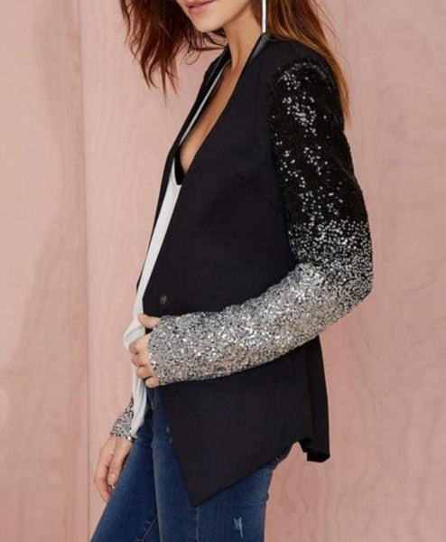 new collection first rate discount Edgy Black Sequin Office Blazer   Womens Dress Jackets - Edgy Couture