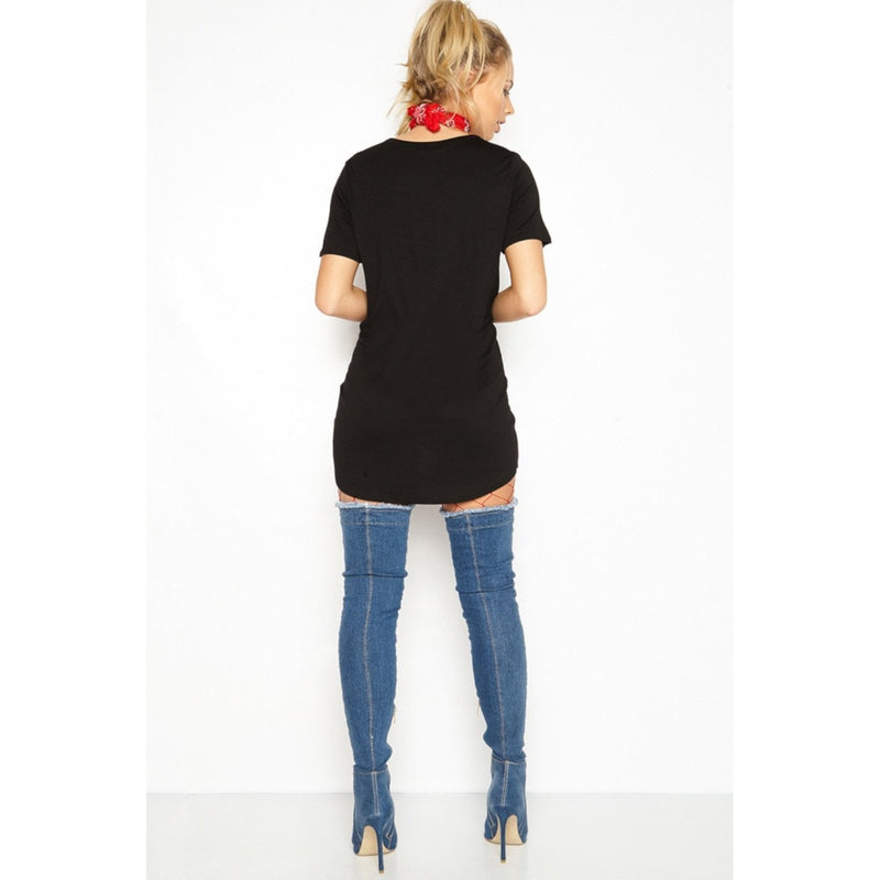 Edgy Black Steampunk Distressed Hollow Out Graphic T-Shirt Dress  T-Shirts Edgy Couture