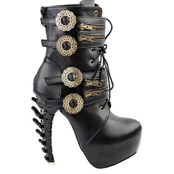 Black & Gold SteamPunk Jagged Edge Peep Toe High Heel Ankle Boots  Ankle Boots Edgy Couture