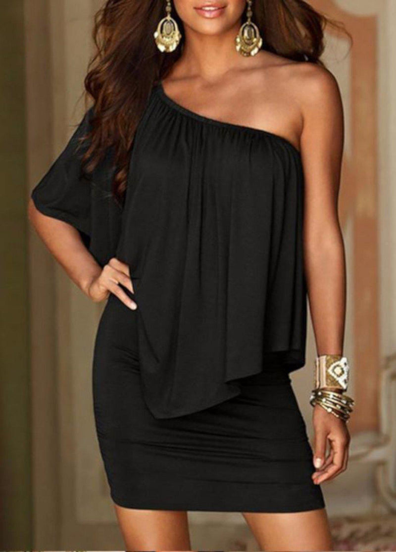 Edgy Professional Black Off The Shoulder Sheath Dress W/ Ruffles XXL / Black Sheath Dress Edgy Couture