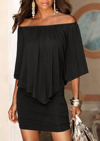 Edgy Professional Black Off The Shoulder Sheath Dress W/ Ruffles  Sheath Dress Edgy Couture