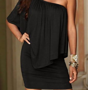Edgy Professional Black Off The Shoulder Sheath Dress W/ Ruffles