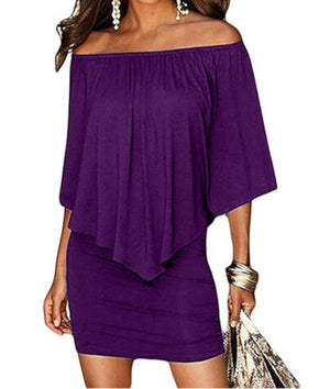 Edgy Professional Purple Off Shoulder Pencil Dress W /Ruffles  Sheath Dress Edgy Couture
