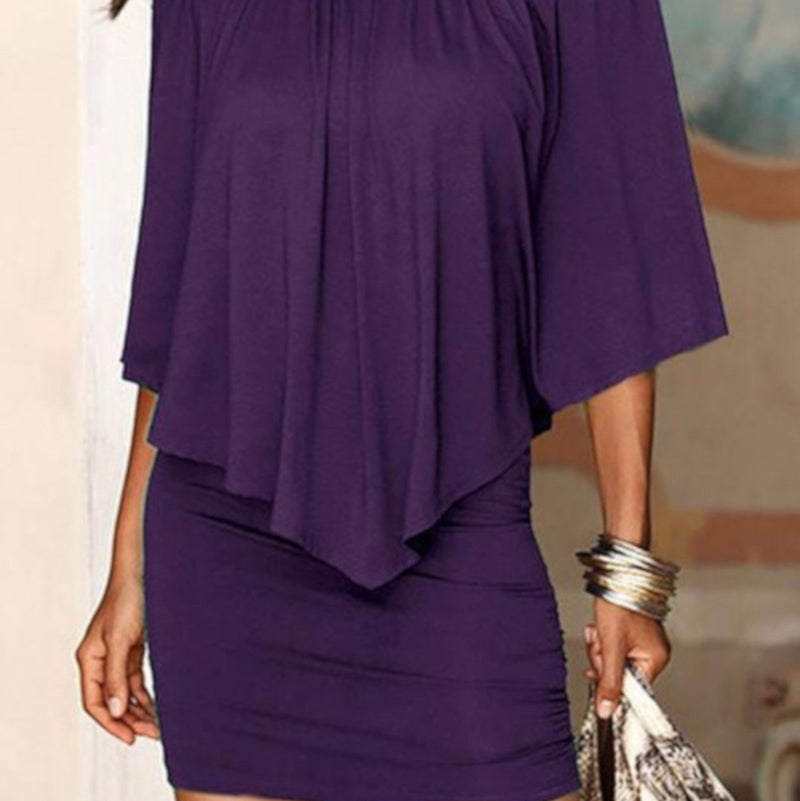 Edgy Professional Purple Off Shoulder Pencil Dress W /Ruffles