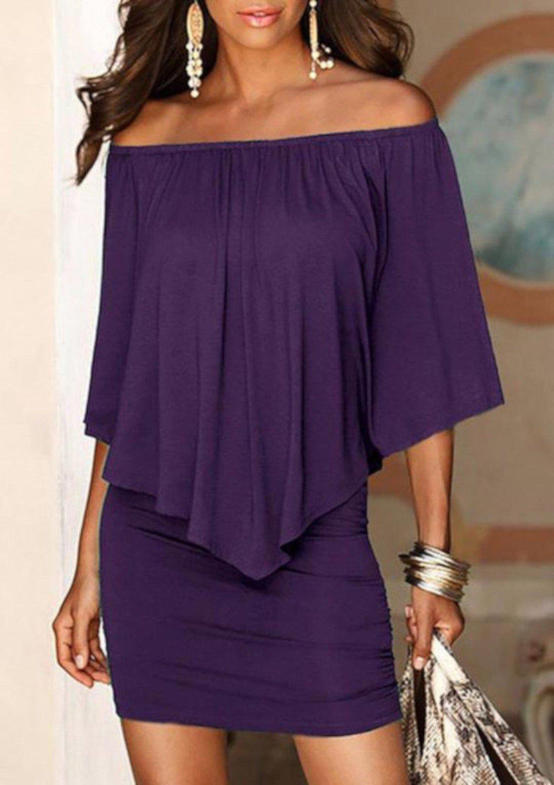 Edgy Professional Purple Off Shoulder Pencil Dress W /Ruffles XXL / Purple Sheath Dress Edgy Couture