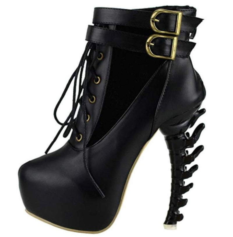 Edgy SteamPunk Black Platform Jagged High Heel Ankle Boots-Boots-5-Black-Edgy Couture