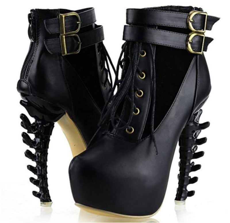 Edgy SteamPunk Black Platform Jagged High Heel Ankle Boots-Boots-Edgy Couture