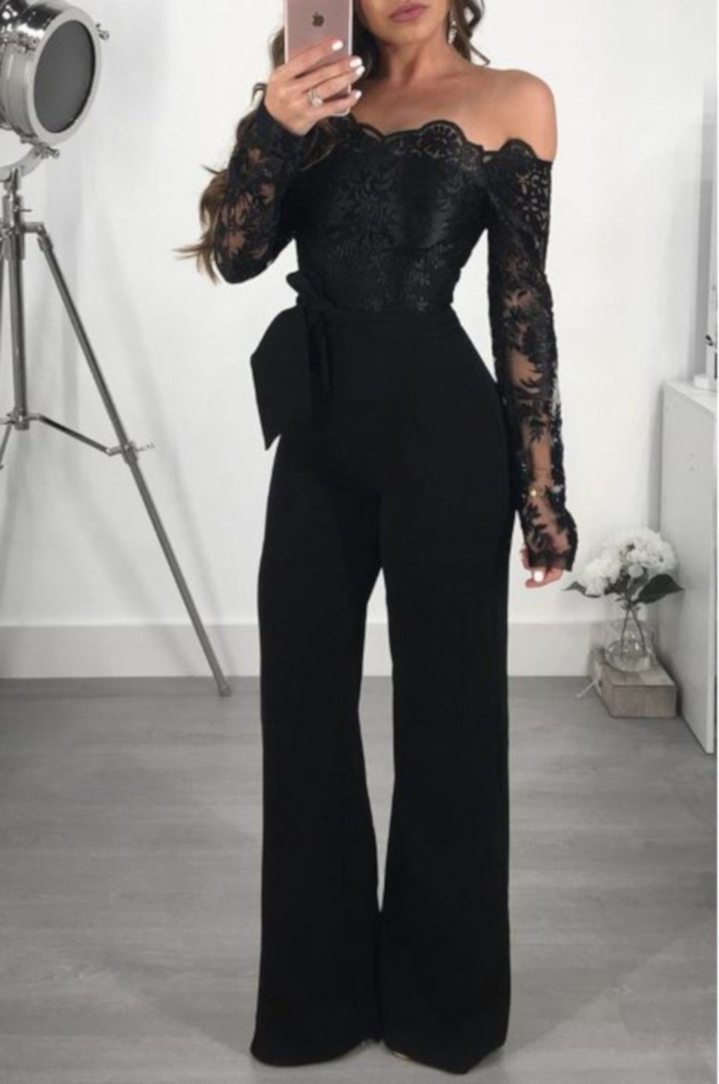 Elegant Black Lace Off Shoulder Jumpsuit Romper-Jumpsuit-Small-Black-Edgy Couture