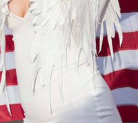 Elegant White Long Sleeve Bridal Bodycon Dress W/ Feather Wings  Bodycon Dress Edgy Couture