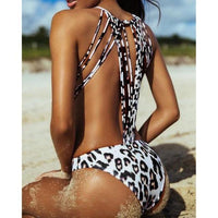 Enchanting White Leopard One-Piece Backless Monokini SwimSuit  One-Piece Edgy Couture