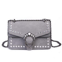 Grey Embellished Suede Crystal Stud Clutch Shoulder Bag  Shoulderbag Edgy Couture