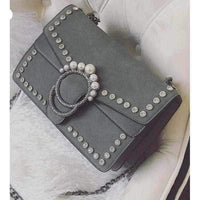 Grey Embellished Suede Crystal Stud Clutch Shoulder Bag Small / Grey / Suede Shoulderbag Edgy Couture