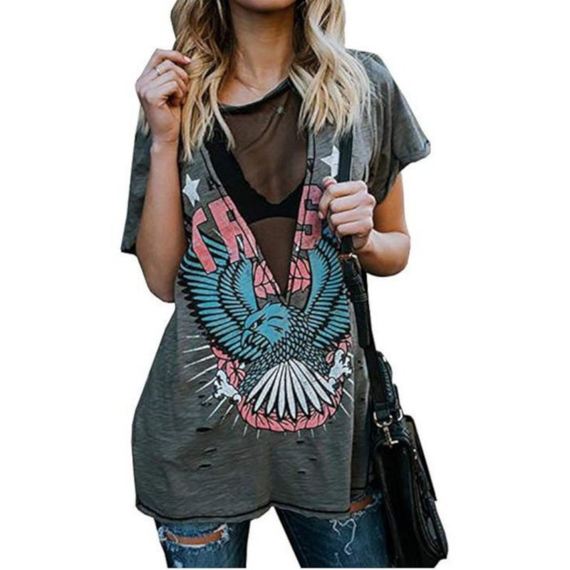 Grey Mesh Patriot Eagle Steampunk Distressed Graphic T-Shirt  T-Shirts Edgy Couture