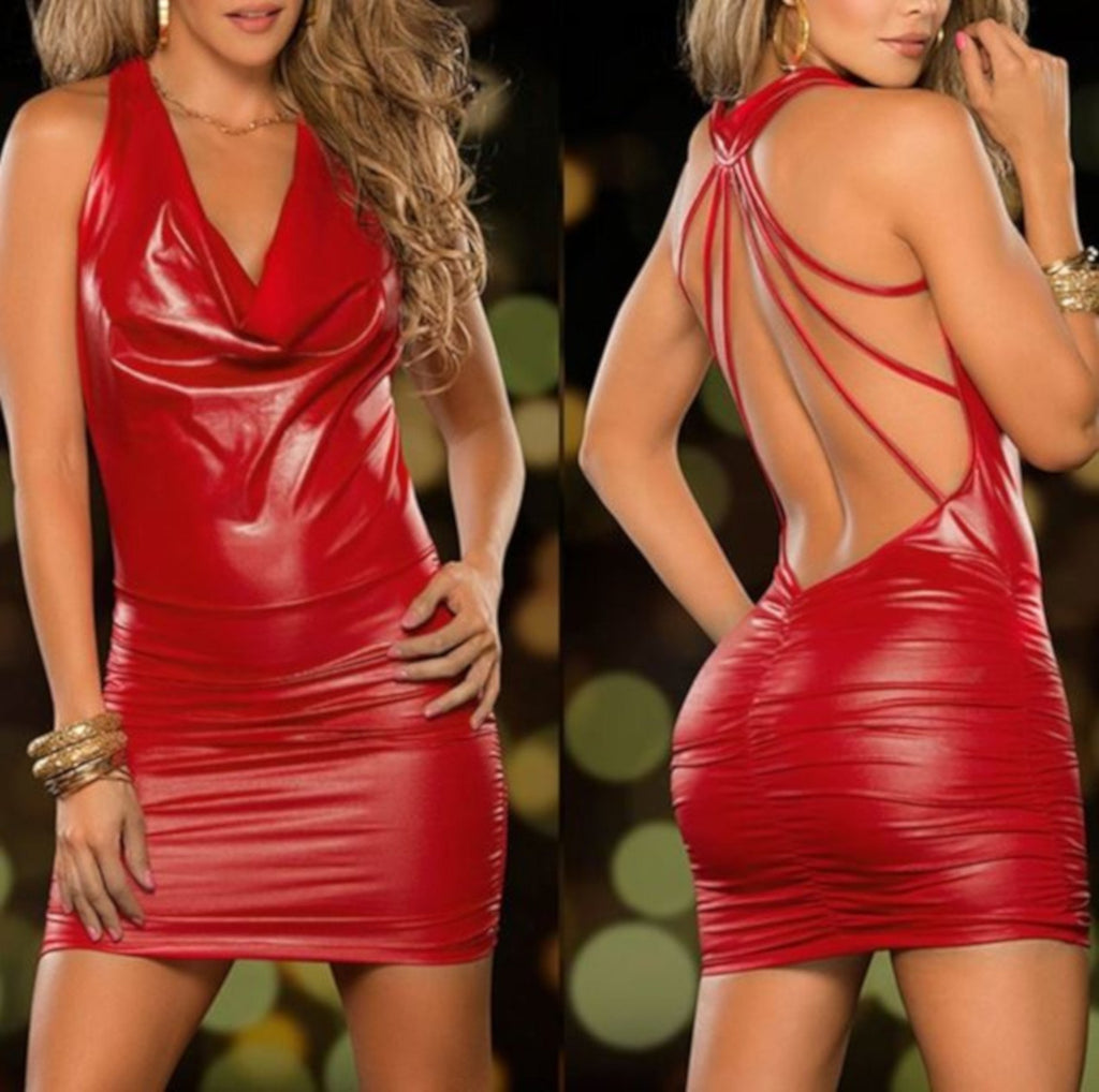 Haute Red Leather Backless Strappy Club Dress-Backless Dress-Small-Red-Edgy Couture
