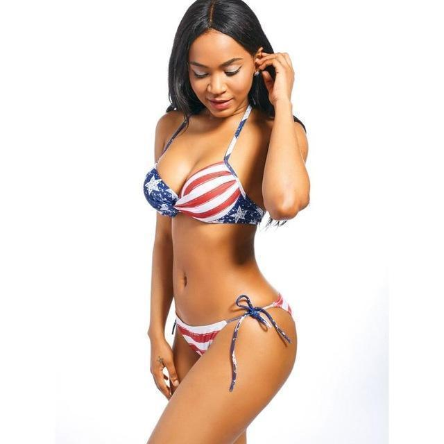 Hot Fourth Of July 2pc Halter Brazilian Bikini Set  Bikini Edgy Couture