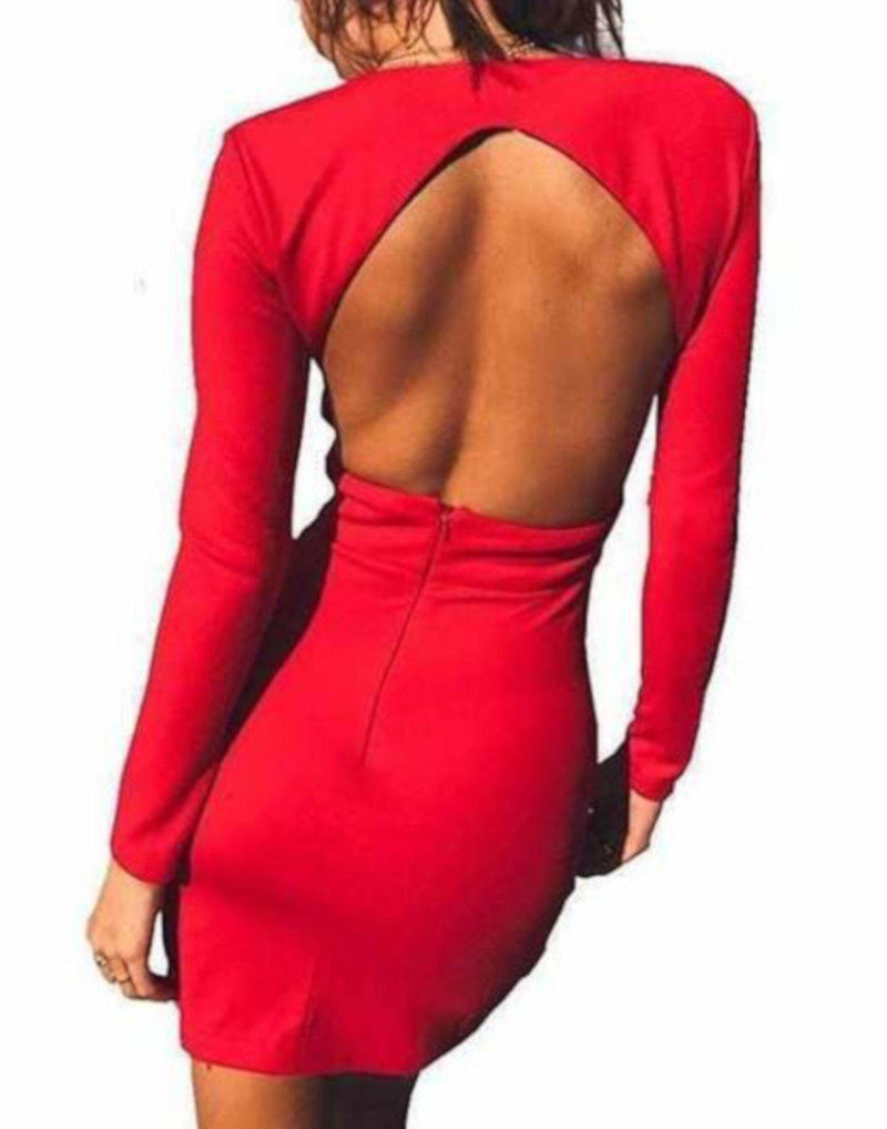 Hot Red Plunging Long Sleeve Backless Bodycon Dress  Bodycon Dress Edgy Couture
