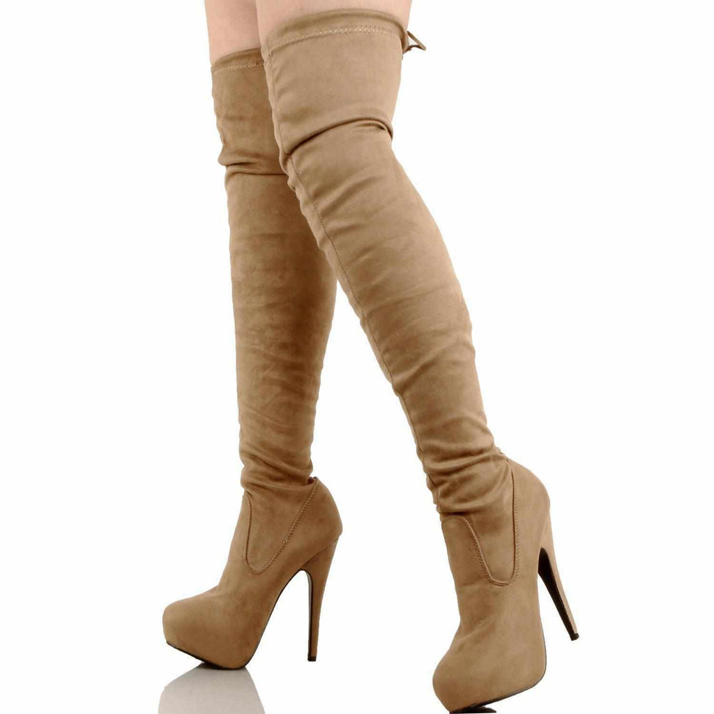 Ladies Hot Red Faux Suede Lace Up Knee High Boots 10 / Taupe Knee High Boots Edgy Couture