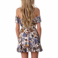 Ladies Off Shoulder Brown Floral Lace up Party Sundress  Sundress Edgy Couture