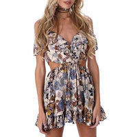Ladies Off Shoulder Brown Floral Lace up Party Sundress X-Large / Brown / Polyester Sundress Edgy Couture