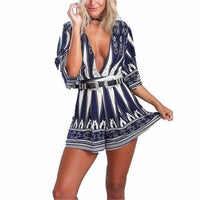 Ladies Sexy Blue Pedal Qtr Sleeve V Neck Belted Party Shorts Romper  Rompers Edgy Couture