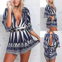 Ladies Sexy Blue Pedal Qtr Sleeve V Neck Belted Party Shorts Romper X-Large / Blue / Polyester Rompers Edgy Couture