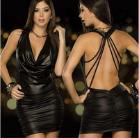 Ladies Wet Luxurious Black Faux Leather Backless Min Club Dress Large / Black / Bodycon Dress Party Dress Edgy Couture