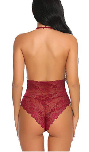 Ladies Wine Red Flirtatious Lace Bodysuit Intimates-Bodysuits-Edgy Couture