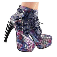 Aqua Mermaid Black & Pink SteamPunk Jagged Edge Platform High Heel Ankle Boots 10 / Pink / PU Ankle Boots Edgy Couture