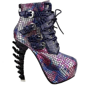 Aqua Mermaid Black & Pink SteamPunk Jagged Edge Platform High Heel Ankle Boots  Ankle Boots Edgy Couture