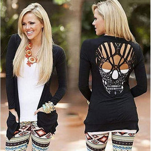 Punk Glam Light Weight Black Long Sleeve Cardigan Sweater W/ Skulls Black / X-Large Shirts Edgy Couture